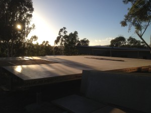 Insulated timber floor construction, Sunset over
