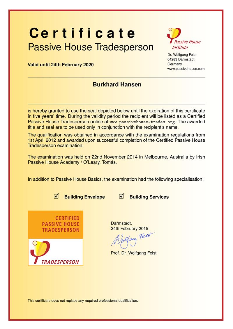 Passive House Tradesperson Certificate
